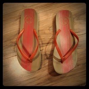 Tory Burch Shoes - Tory Burch Orange PVC Flip-Flops. Size 9/10